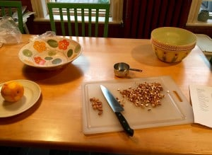 Chopping nuts to add to the granola, a very zen experience.