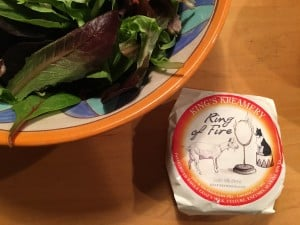 """Cheese used in the quince salad, """"Ring of Fire,"""" a pasteurized whole goat's milk cheese from King's Creamery in Lancaster, PA."""