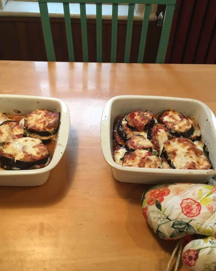Eggplant Parmesan, out of the oven and full of lovin'.