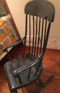 My old rocking chair. Imagine my mom sitting there out doors, a wreath of flowers in her hair, looking like mother nature, cradling a bag of
