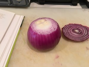 Red onion to be sliced for the soup pot.