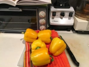 Yellow peppers for mise en place.