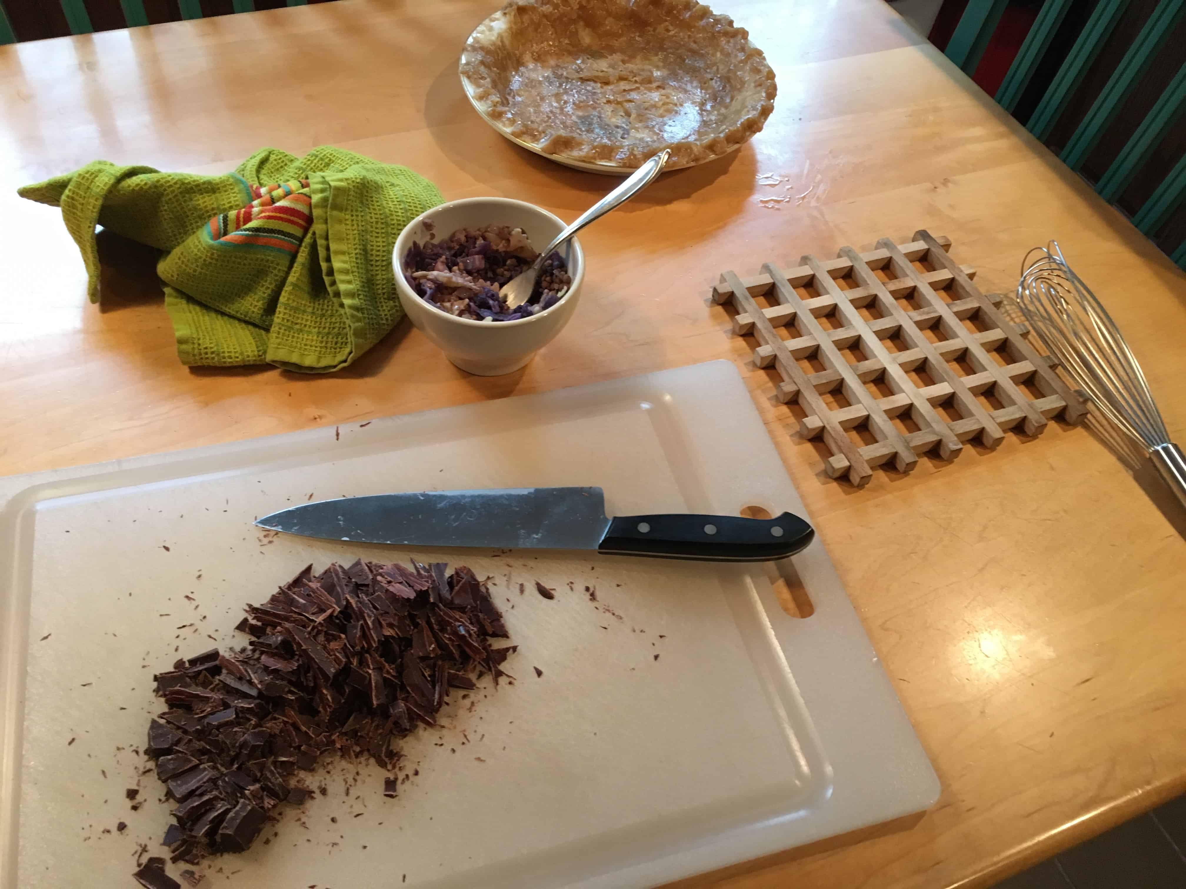 Beginning the ganache, with dish of kasha in the background.