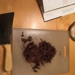 Chopped chocolate for the ganache.