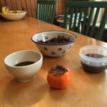 Cooked aduki beans and bean broth for sipping.