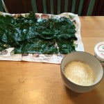 Drying the collards on a towel.