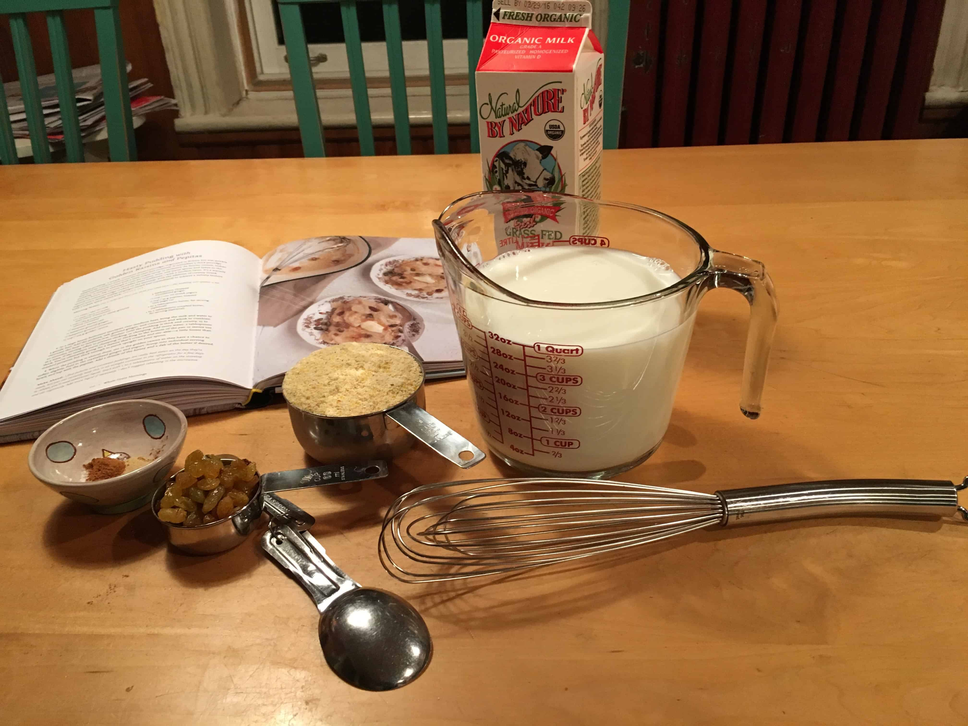 Ingredients for the Hasty Pudding recipe.