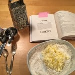 Grated butter to add to dry ingredients.