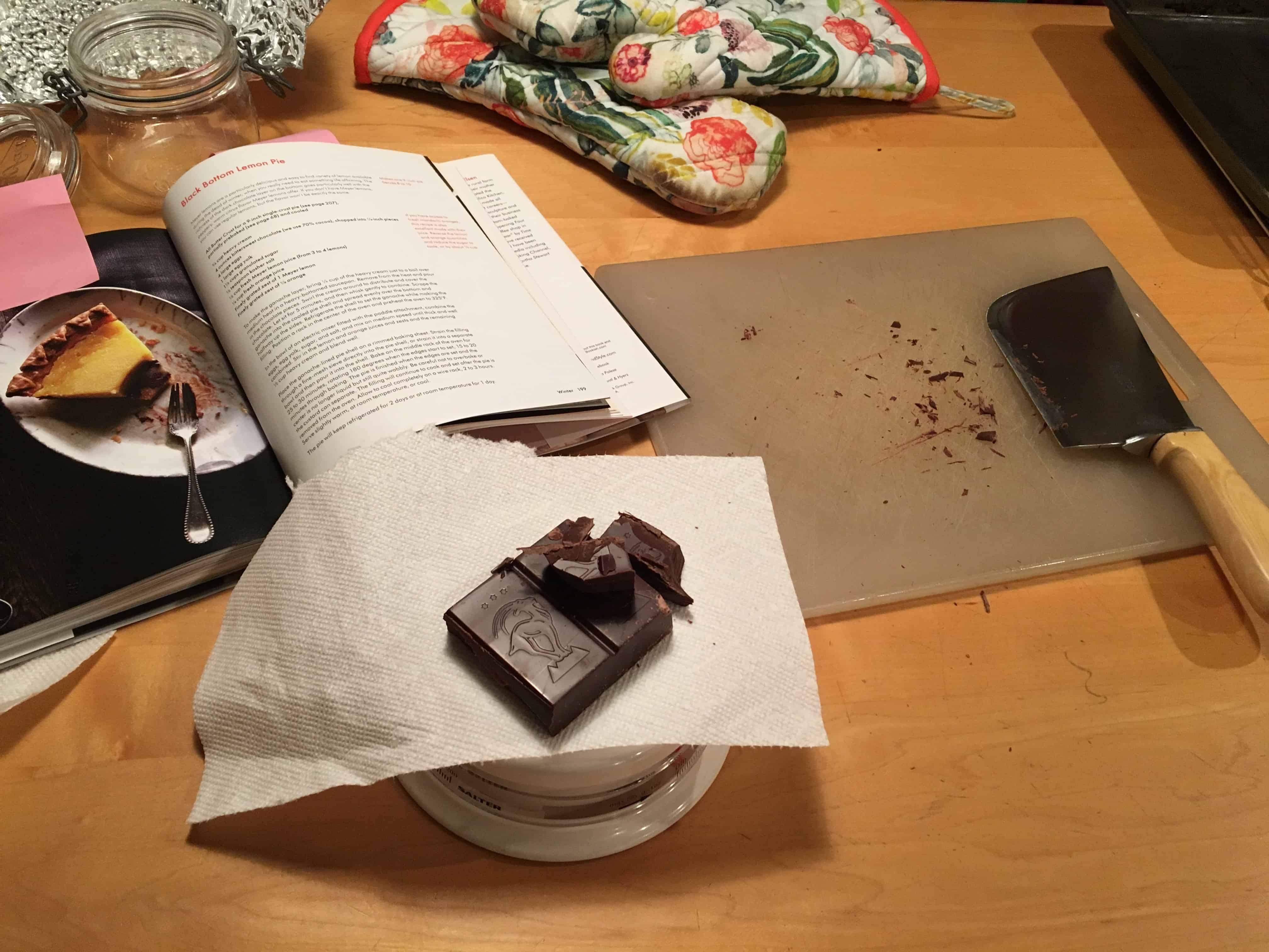Weighing the chocolate.