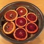 Blood Orange slices on bottom of pan.