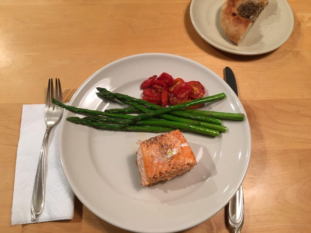 """""""Tis a gift to be simple,"""" roasted salmon, asparagus and tomatoes."""