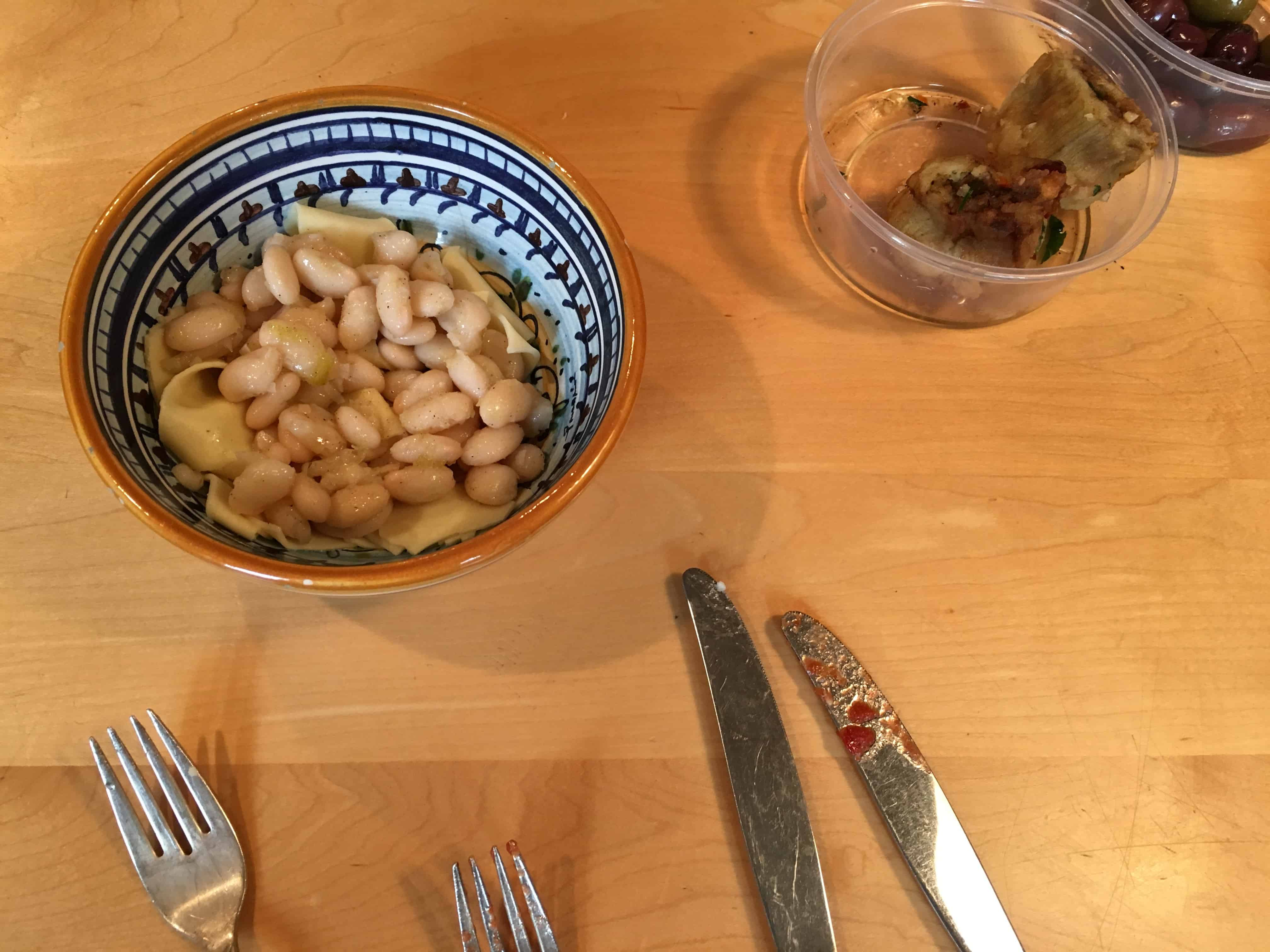 Defrosted and dressed, leftover white beans, from Broccoli Rabe and White Bean Soup recipe.