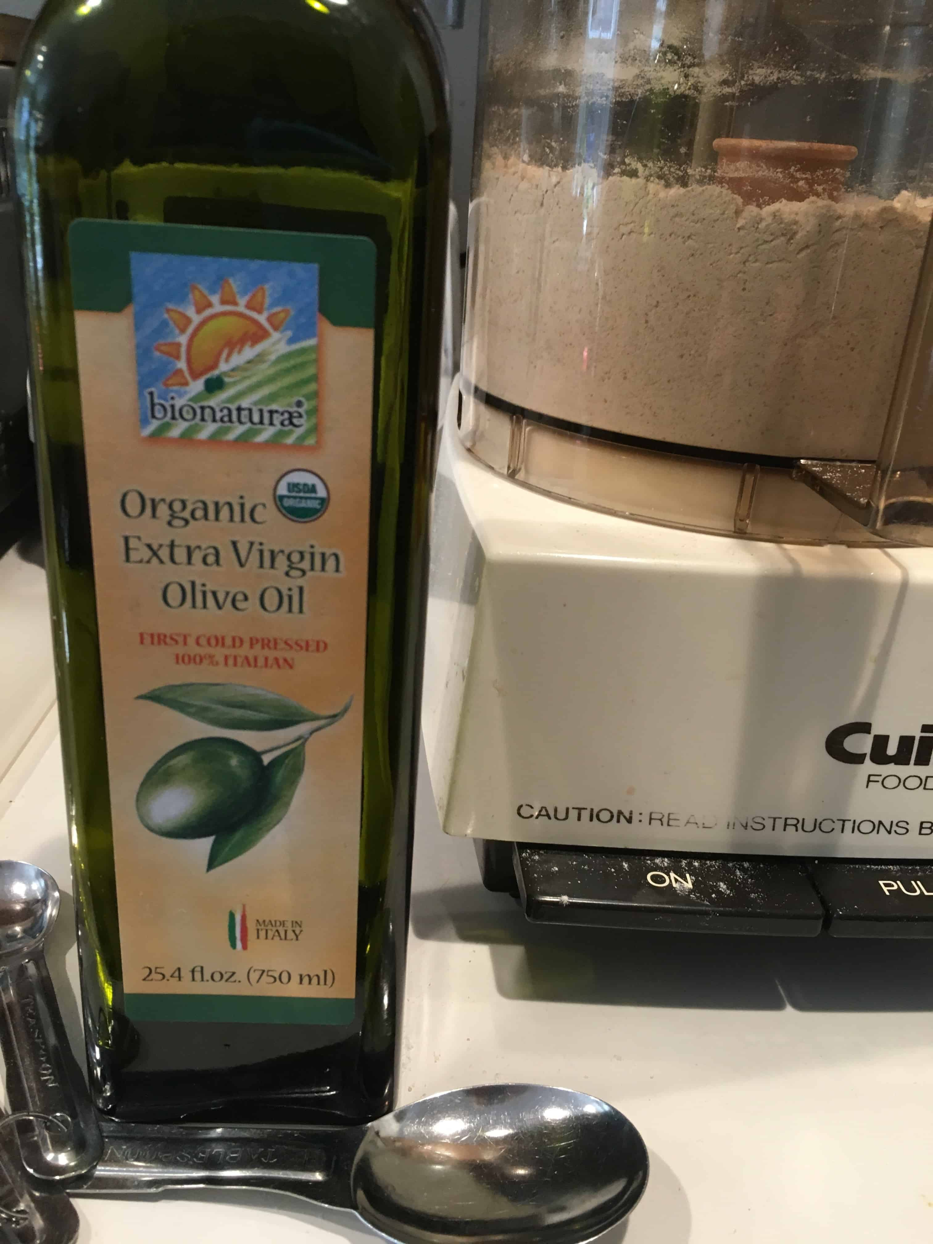 Olive oil for the pizza dough.