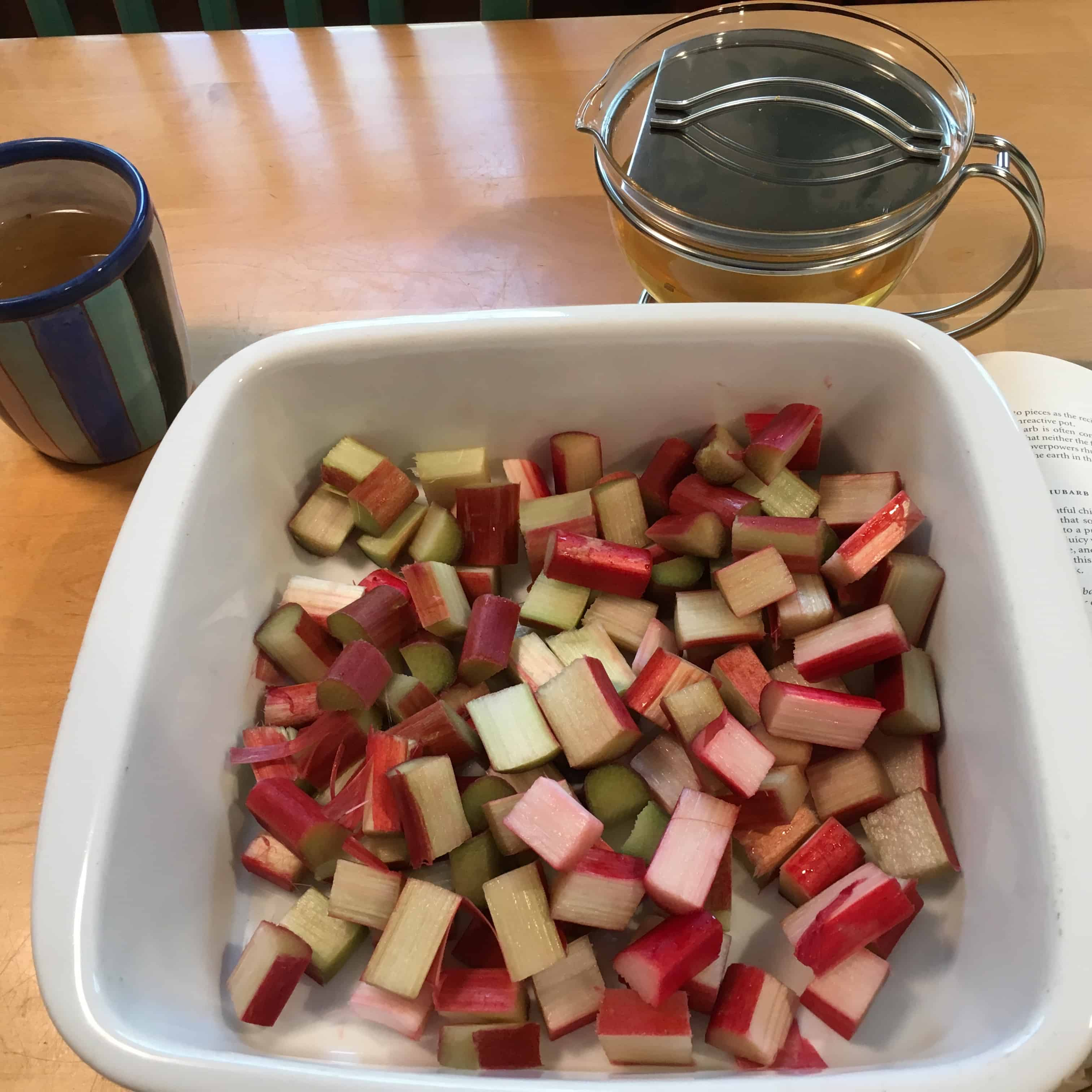 Rhubarb should always be cooked in a nonreactive pot or dish.