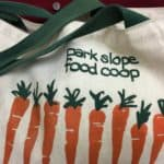 Park Slope Food Coop canvas shopping bag, with carrot motif.
