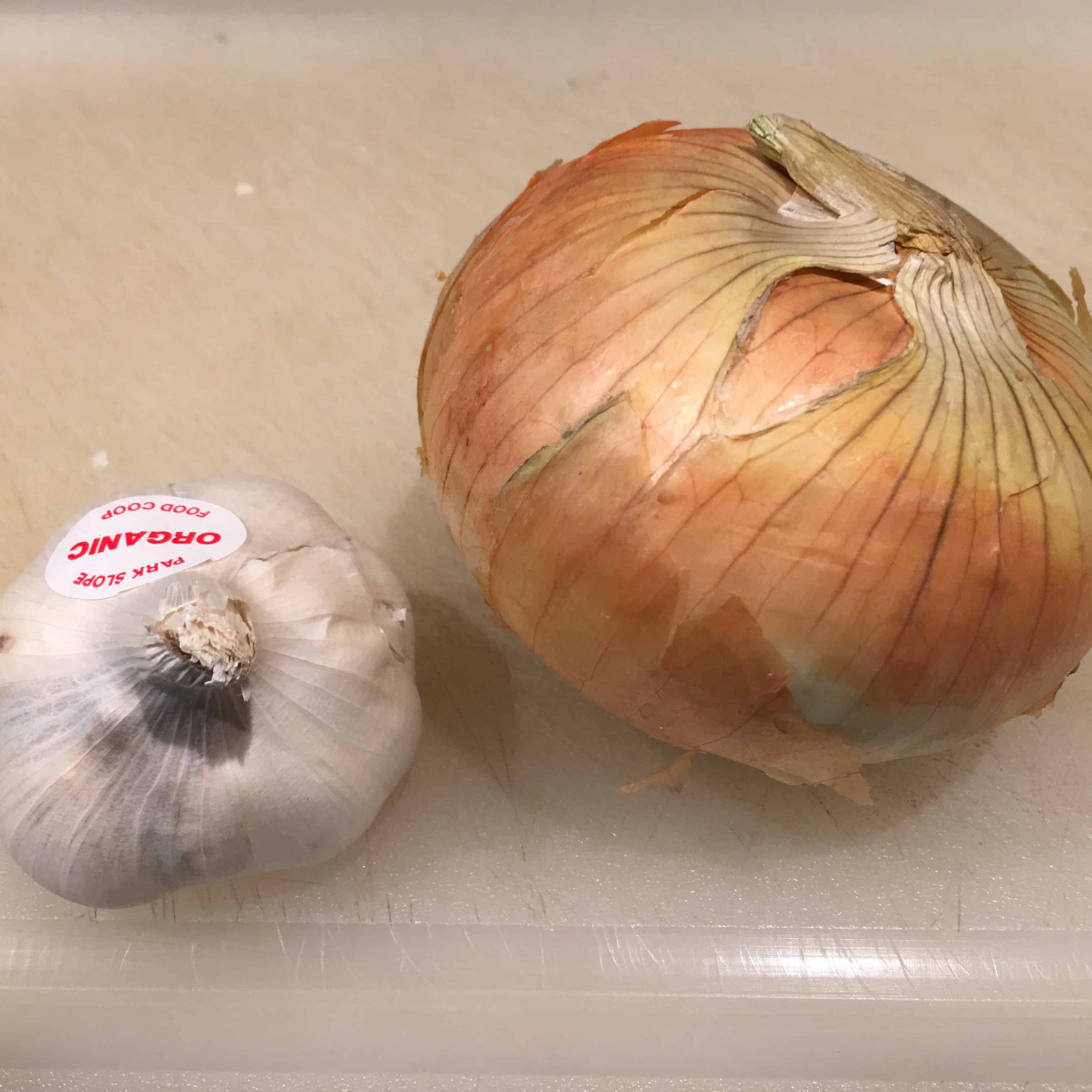 Recipe calls for two cloves garlic and one onion, both to be chopped.