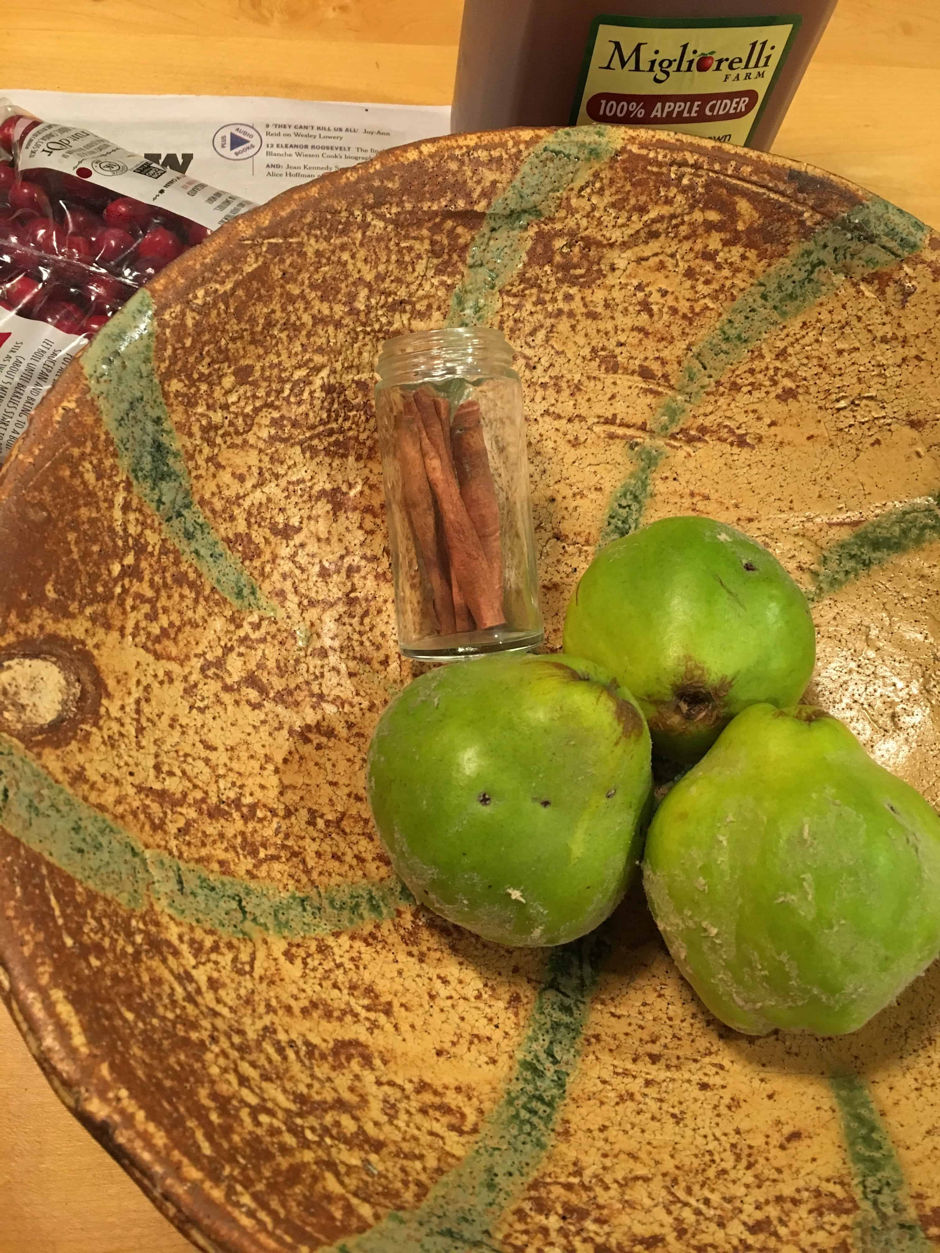 Ingredients for cooking Quince and Cranberry Compote.