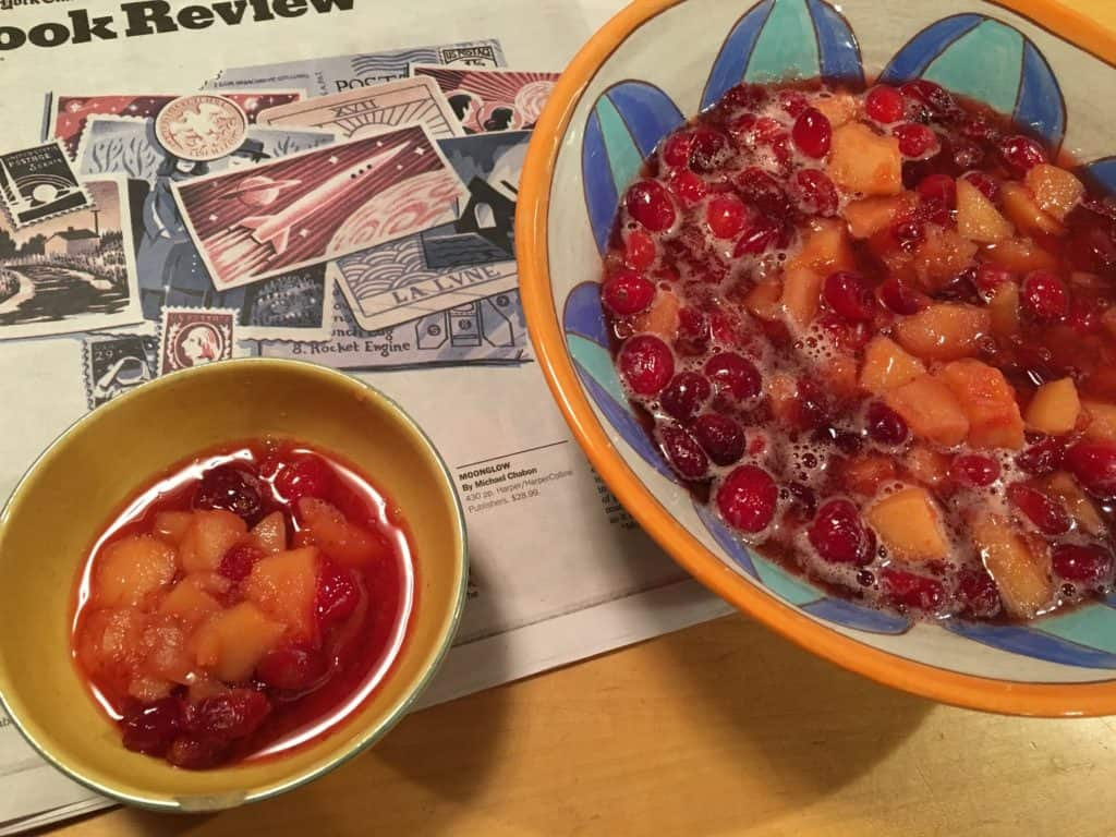 The finished recipe, Quince and Cranberry Compote.