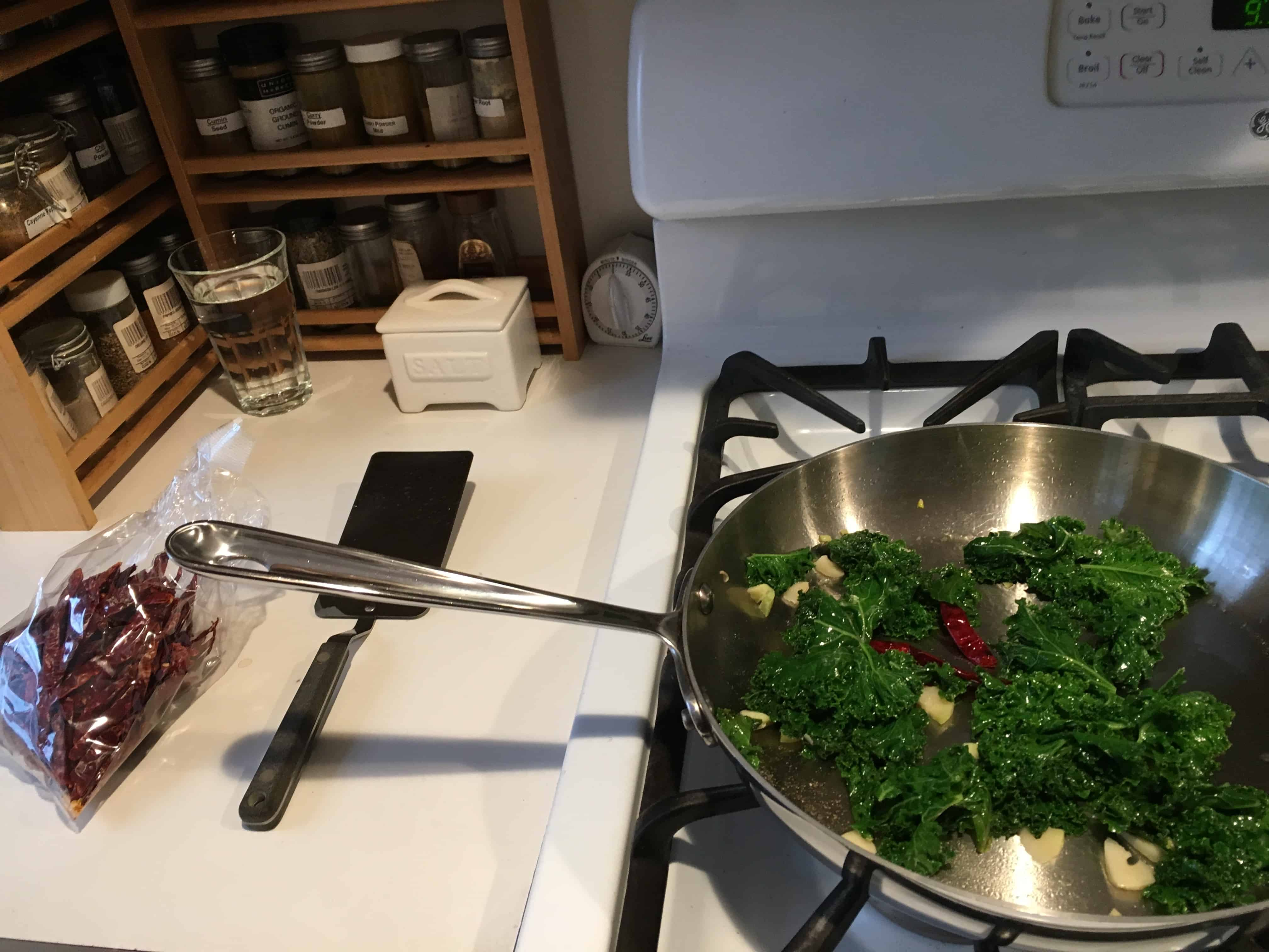 Kale omelet with heat.