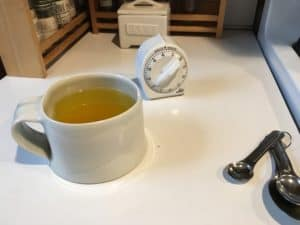 Having a cup of tumeric tea before starting to cook.