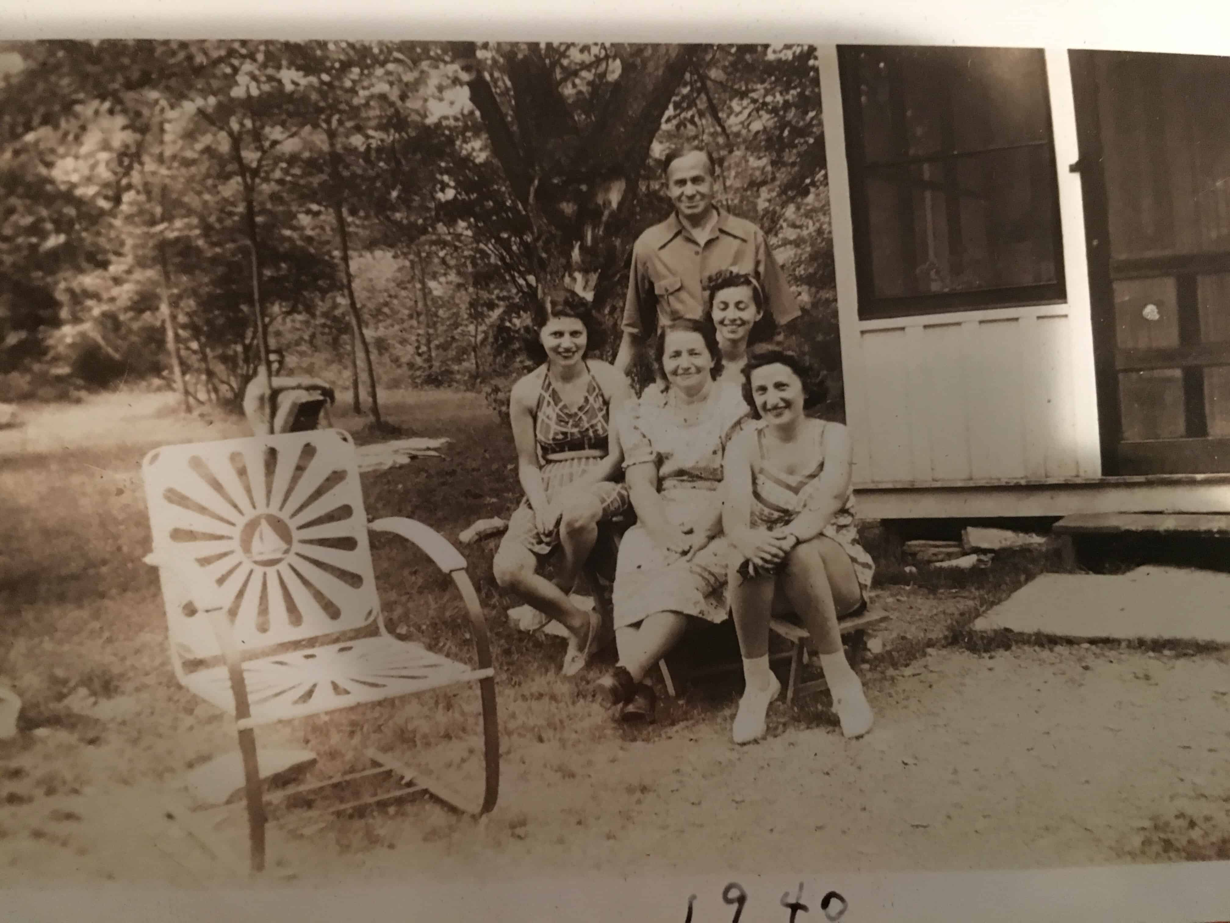 1940 at Sackett Lake, Grandma Clara in middle, Grandpa Izzy standing in back, Sisters, Ann and Gertie, right and left of Clara (mom and Aunt).