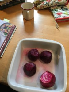 Preparing to roast the beets.