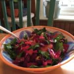 A great dish for a potluck, Roasted Beet, Citrus, and Olive Salad with Horseradish.