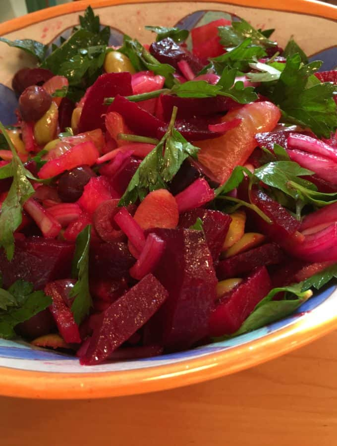 Roasted Beet, Citrus, and Olive Salad with Horseradish, more than your ordinary beet salad.