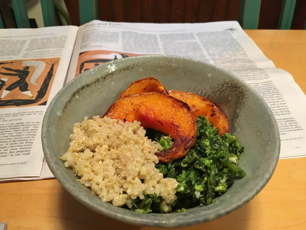 Rapini aka Broccoli Rabe with Chilies and Garlic, in a Buddha Bowl with quinoa and roasted winter squash.