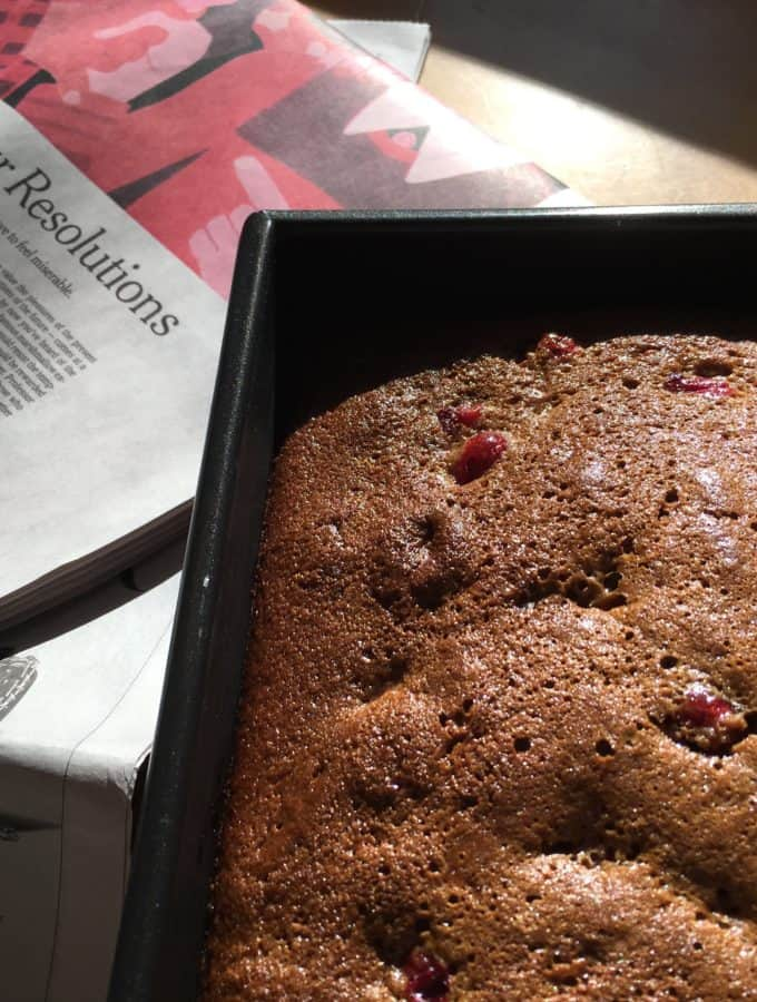 Sticky Cranberry Gingerbread.