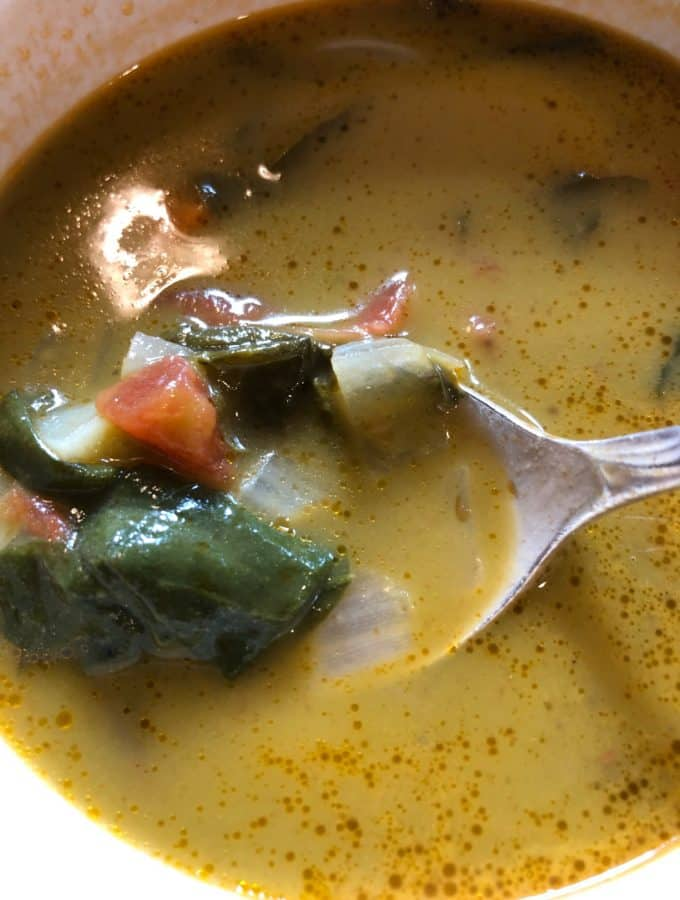 In Passato of Vegetables with Chard, soup is partially pureed, but pieces of vegetables left as cut, to add some texture to the puree.