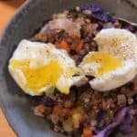 Kasha Pilaf a/k/a Buckwheat Groats Pilaf, with an egg on top for extra protein.