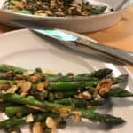 Roasted asparagus with almonds, capers, and dill