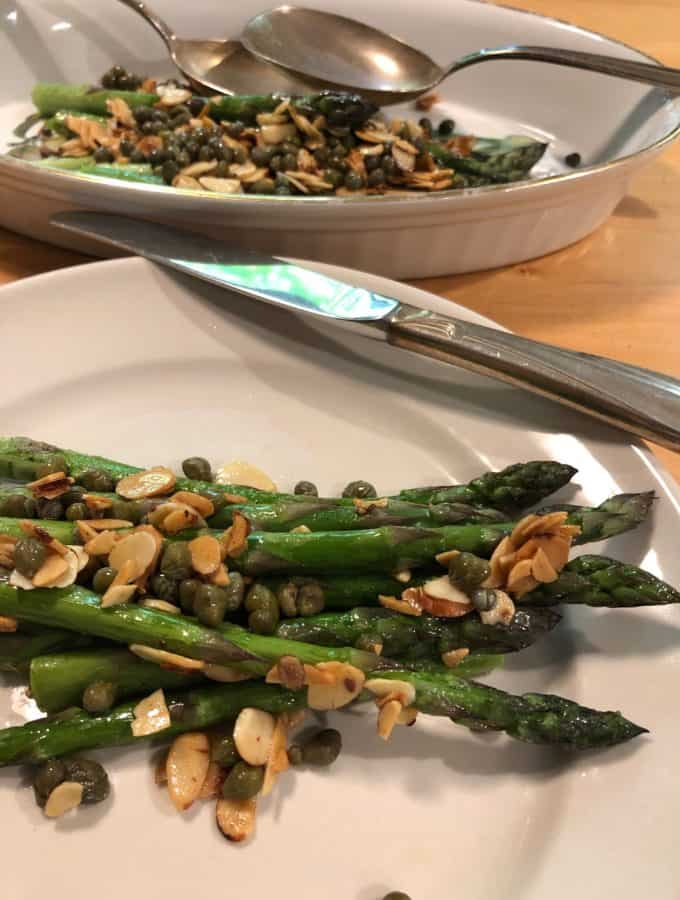 Try this new recipe for roasted asparagus with almonds, capers and dill.