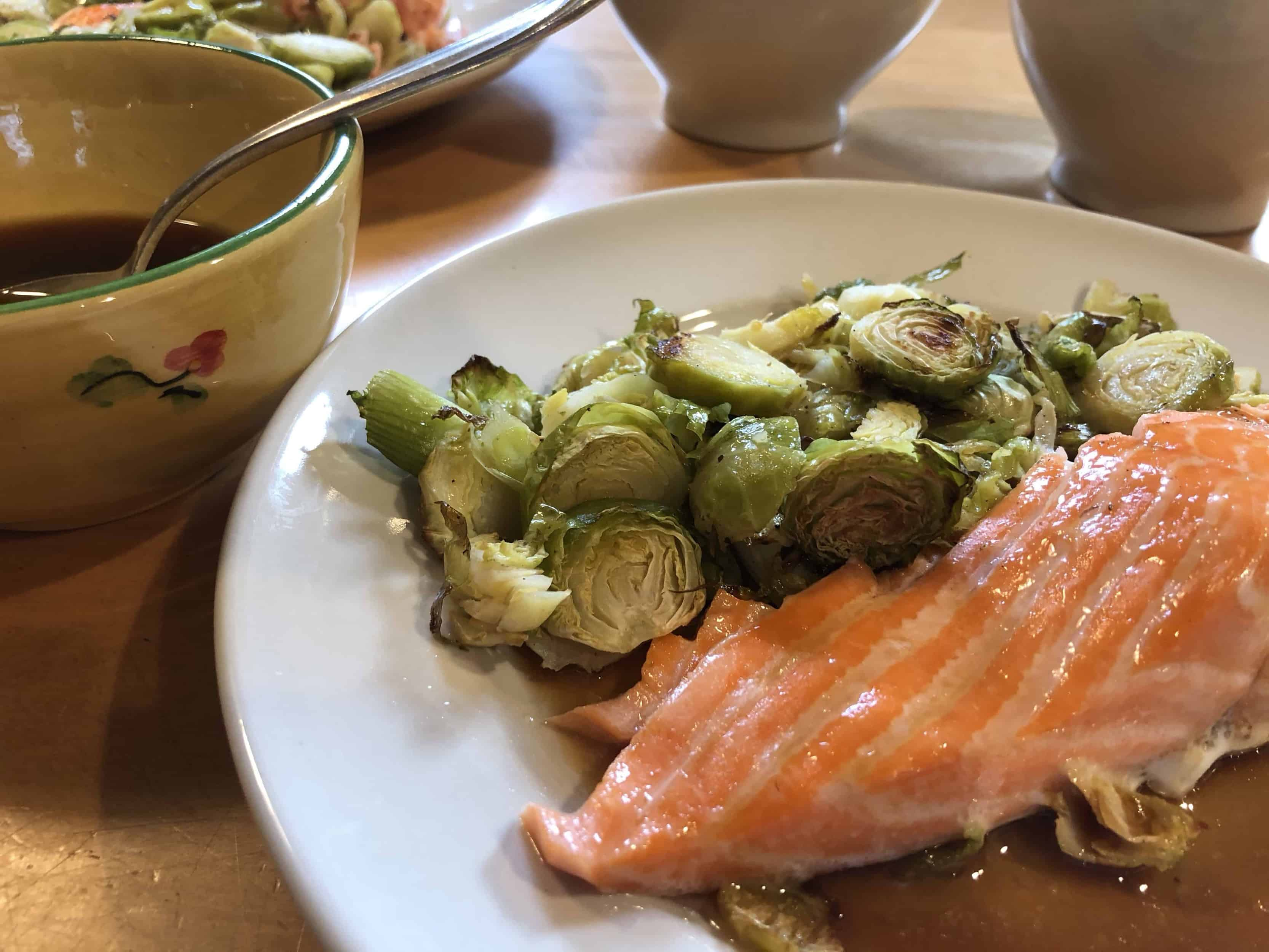 Lime juice is the perfect acid in this recipe for sheet-pan salmon and brussels sprouts with citrus-soy sauce.