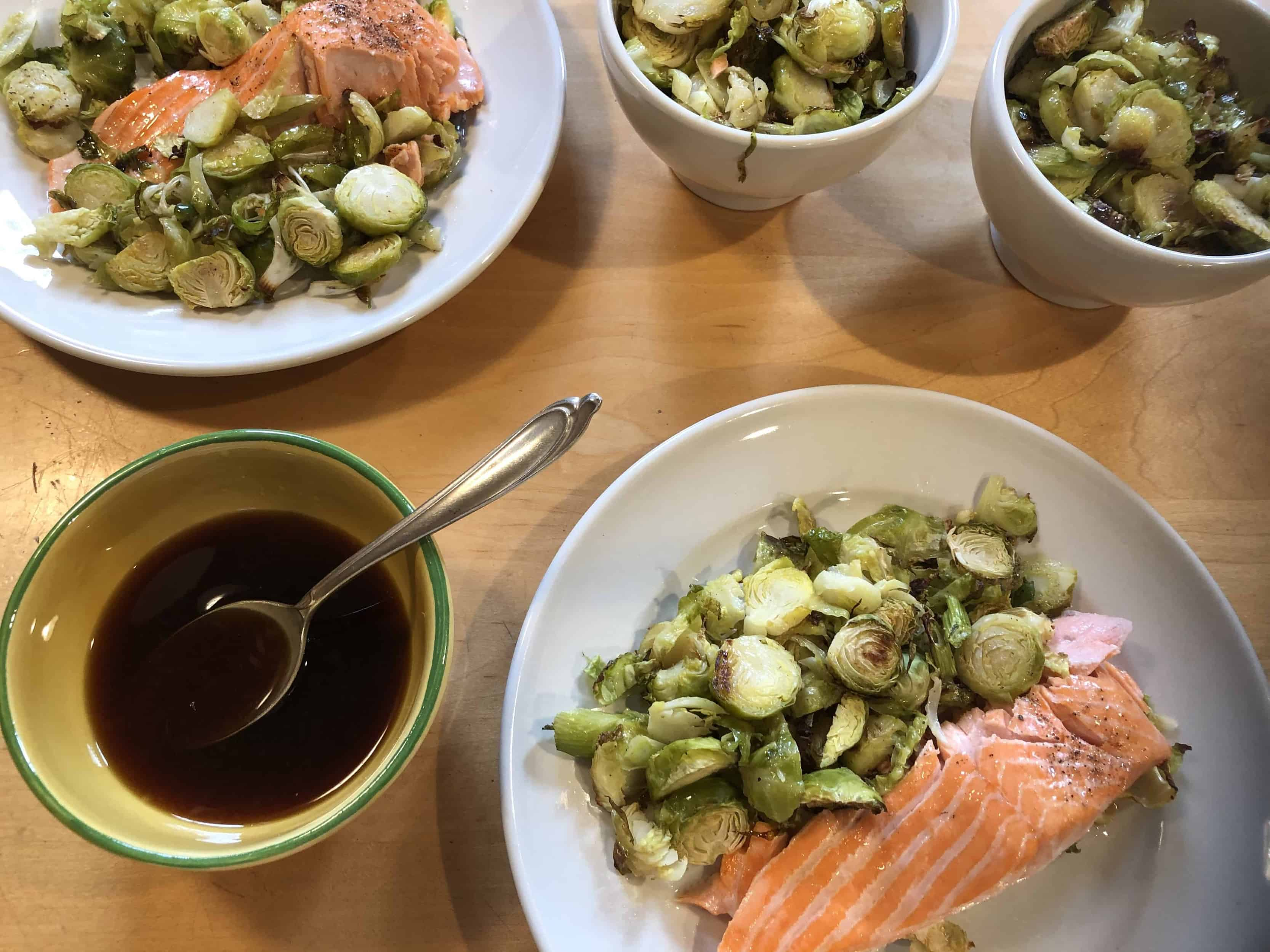 Healthy and quick, sheet-pan salmon and brussels sprouts with citrus-soy sauce.