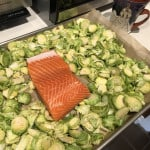 Sheet-pan salmon and brussels sprourts ready for baking.
