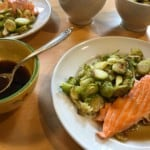 Sheet-pan Salmon and Brussels Sprouts with Citrus-Soy Sauce