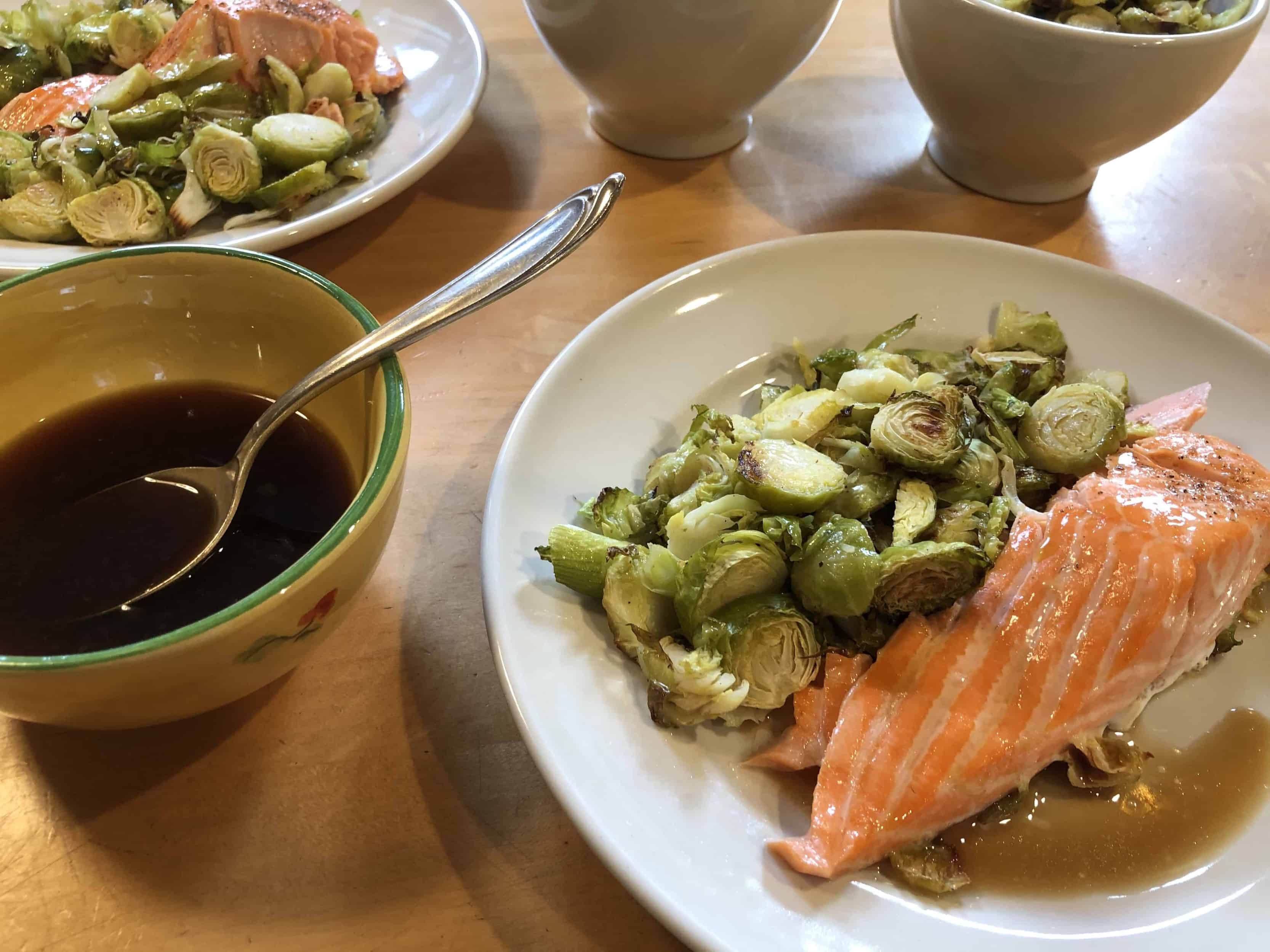 Try this recipe and enjoy, sheet-pan salmon and brussels sprouts with citrus-soy sauce.