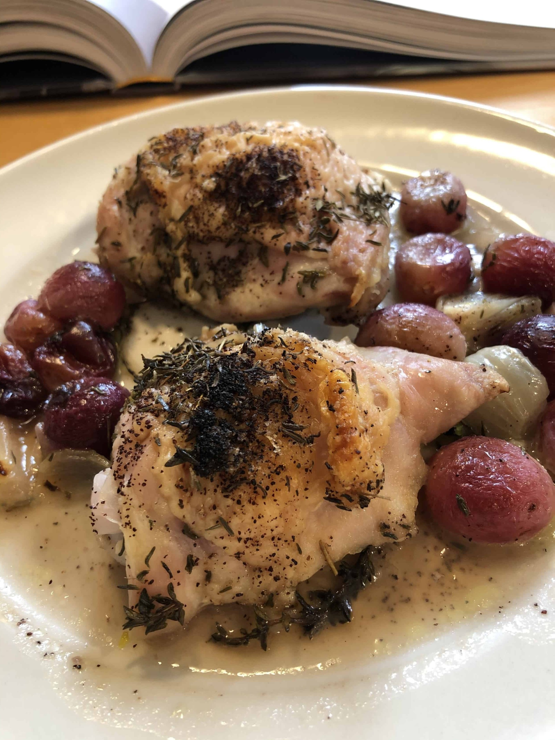 Sheet-Pan Chicken with Shallots and Grapes